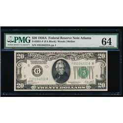 1928A $20 Atlanta Federal Reserve Note PMG 64