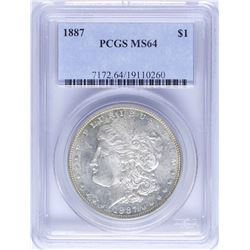 1887 $1 Morgan Silver Dollar Coin PCGS MS64 Nice Toning