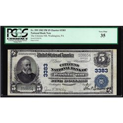 1902PB $5 Citizens NB of Washington, PA CH# 3383 National Currency Note PCGS VF35
