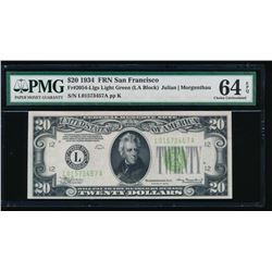 1934 $20 San Francisco Federal Reserve Note PMG 64EPQ