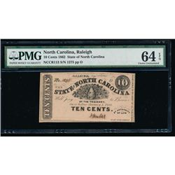 Ten Cent 1862 North Carolina Obsolete Note PMG 64EPQ