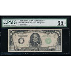 1934A $1000 San Francisco Federal Reserve Note PMG 35EPQ
