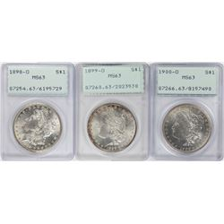 Lot of 1898-O to 1900-O  $1 Morgan Silver Dollar Coins PCGS MS63 Old Green Rattler