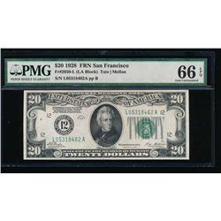 1928 $20 San Francisco Federal Reserve Note PMG 66EPQ