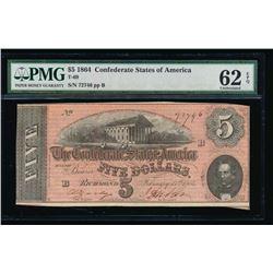 1864 $5 Confederate States of America Note PMG 62EPQ