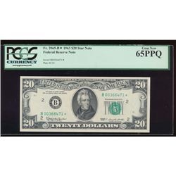 1963 $20 New York Federal Reserve Star Note PCGS 65PPQ