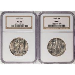 Lot of 1944-1945 Walking Liberty Half Dollar Coins NGC MS65