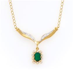 Plated 18KT Yellow Gold 0.80ct Green Agate and Diamond Pendant with Chain