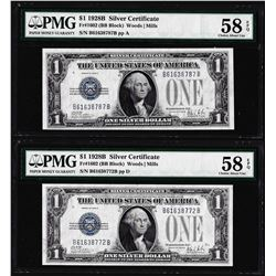 Lot of (2) 1928B $1 Silver Certificate Notes Fr.1602 PMG About Uncirculated 58EPQ