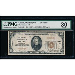 1929 $20 Colfax National Bank Note PMG 30