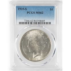 1925-S $1 Peace Silver Dollar Coin PCGS MS62