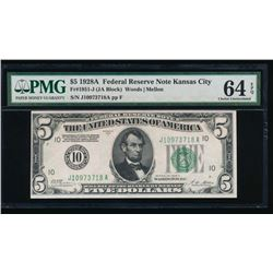 1928A $5 Kansas City Federal Reserve Note PMG 64EPQ