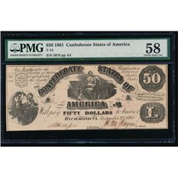 1861 $50 Confederate States of America Note PMG 58