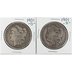Lot of (2) 1901-S $1 Morgan Silver Dollar Coins