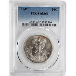1947 Walking Liberty Half Dollar Coin PCGS MS66