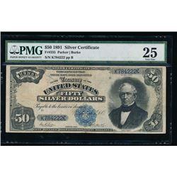 1891 $50 Silver Certificate PMG 25