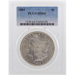 1884 $1 Morgan Silver Dollar Coin PCGS MS64