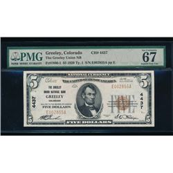 1929 $5 Greeley National Bank Note PMG 67
