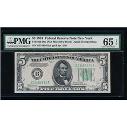 1934 $5 New York Federal Reserve Note PMG 65EPQ