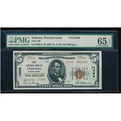 1929 $5 Indiana National Bank Note PMG 65EPQ