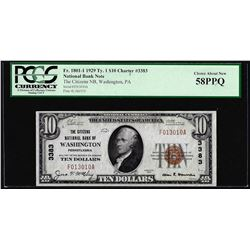 1929 $10 NB Washington, PA CH# 3383 National Currency Note PCGS Choice About New 58PPQ