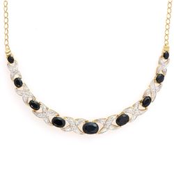 Plated 18KT Yellow Gold 6.18ctw Black Sapphire and Diamond Pendant with Chain