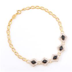 Plated 18KT Yellow Gold 3.05ctw Black Sapphire and Diamond Bracelet