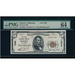 1929 $5 Sonora National Bank Note PMG 64EPQ