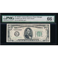 1934D $5 Chicago Federal Reserve Note PMG 66EPQ