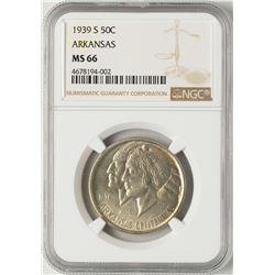 1939-S Arkansas Centennial Commemorative Half Dollar Coin NGC MS66