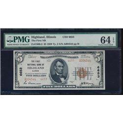 1929 $5 Highland National Note PMG 64EPQ