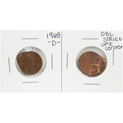 Lot of (2) Lincoln Cent Off Center Strike Error Coins