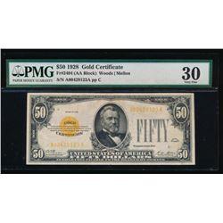 1928 $50 Gold Certificate PMG 30