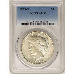 1923-S $1 Peace Silver Dollar Coin PCGS AU55