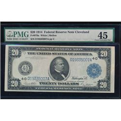 1914 $20 Cleveland Federal Reserve Note PMG 45