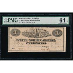 1863 $1 Raleigh NC Obsolete Note PMG 64EPQ