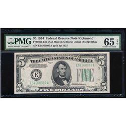1934 $5 Richmond Federal Reserve Star Note PMG 65EPQ