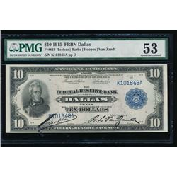1915 $10 Dallas Federal Reserve Bank Note PMG 53