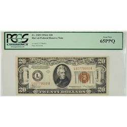 1934A $20 Hawaii Federal Reserve Note PCGS 65