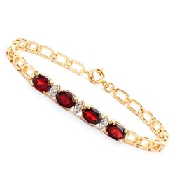 Plated 18KT Yellow Gold 3.50ctw Garnet and Diamond Bracelet