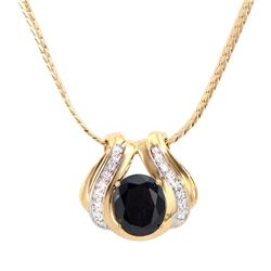 Plated 18KT Yellow Gold 6.00ct Black Sapphire and Diamond Pendant with Chain
