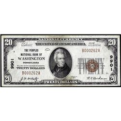 1929 $20 Peoples NB of Washington, Pennsylvania CH# 9901 National Currency Note