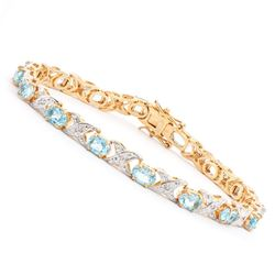 Plated 18KT Yellow Gold 9.00ctw Blue Topaz and Diamond Bracelet