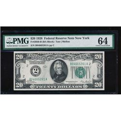 1928 $20 New York Federal Reserve Note PMG 64