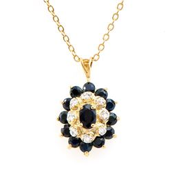 Plated 18KT Yellow Gold 2.60ctw Black Sapphire and Diamond Pendant with Chain
