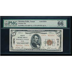 1929 $5 Wichita Falls National Bank Note PMG 66EPQ