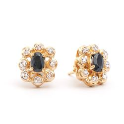 Plated 18KT Yellow Gold 1.30ctw Black Sapphire and Diamond Earrings