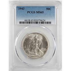 1943 Walking Liberty Half Dollar Coin PCGS MS65