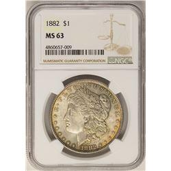 1882 $1 Morgan Silver Dollar Coin NGC MS63 Nice Toning
