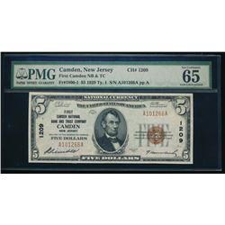 1929 $5 Camden National Bank Note PMG 64
